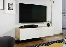 Wall Mounted Floating White Gloss/Oak TV Unit Media Cabinet 1 Door 120cm Nevada