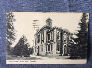 BERLIN ONTARIO CANADA - 2 EARLY POSTCARDS - COURT HOUSE - RIVER - KITCHENER
