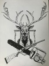 Evil Dead Horror Comedy Brice Campbell Deer Chainsaw Boomstick Drawing Original