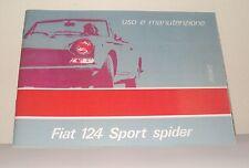 Uso e manutenzione Fiat 124 Sport Spider terza serie III series-