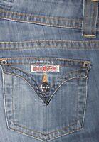 Women's HUDSON Low Rise Bootcut TRIANGLE Flap Pocket Stretch Jeans Sz 25x31 USA
