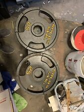 "VINTAGE 25 Lb Golds Gym 2"" Olympic Weight Plates Set Of 2 - 50 lb Total"