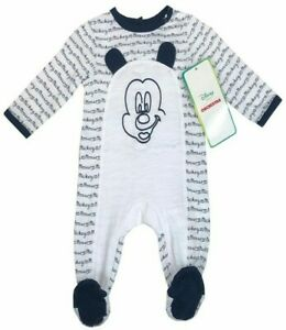 DISNEY BABY MICKEY MOUSE Boys Girls Babygrow Sleepsuit All In One Romper