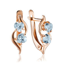 Neu Russische goldene Ohrringe mit TOPAZ 585 14K Russian jewelry gold earrings