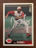 DAVE BURBA 1997 TOPPS AUTOGRAPHED SIGNED AUTO BASEBALL CARD 394 REDS