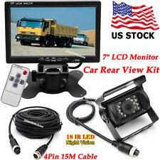 """4Pin 12V-24V 7"""" Car TFT LCD Monitor+Bus Truck IR Rear View Reverse Backup Camera"""
