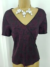 CC Top V Neck Floral Patterned Cap Sleeves Shirt Occasion  Black Purple Size 16