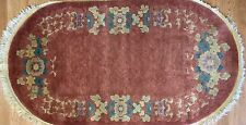 Outstanding Oval - 1920s Antique Art Deco Rug - Chinese Art Nouveau - 3 x 5 ft