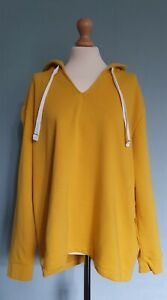 Boden Ladies Mustard Long Sleeved Jersey Hoodie Size XL