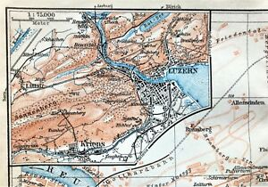 1909 BAEDEKER ANTIQUE COLOR MAP ~ LUZERN (LUCERNE), SWITZERLAND ~ STREETS DETAIL