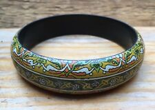 Lovely Vintage Style Green Printed Bangle/Arts & Crafts/Art Nouveau Dsgn/Chunky