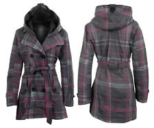 20 22 24 26 Ladies Fleece Jacket Duffle Style Hooded Toggle Check Pocket Coat