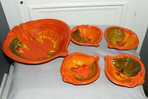 Vintage Calif Pottery LARGE Salad Serving Bowl with 4 Smaller Bowls- Multi Color