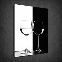 TWO WINE GLASSES BLACK WHITE KITCHEN BOX CANVAS PRINT WALL ART PICTURE