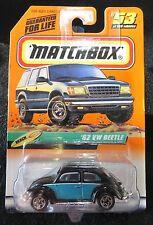 1999 Matchbox   Black and Teal '62 VW Beetle  Card #53
