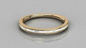 0.22Ct Baguette Diamond Channel Set Half Eternity Wedding Band 9kt Solid Gold