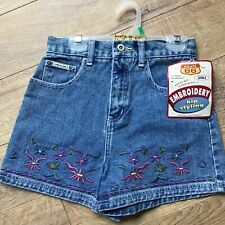 NWT Route 66 Size 12 Girls High Waisted Embroidered Hip Styling Denim Blue Short