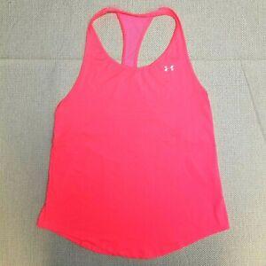 Under Armour Womens XS Neon Pink Tank Top Sleeveless HeatGear Loose Fit Raceback