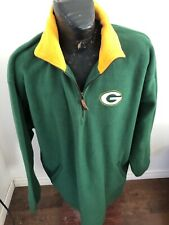 MENS XLarge Football Zip Neck Fleece Pull Over Green Bay Packers w/ Side Pockets