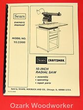 """CRAFTSMAN 10"""" Radial Arm Saw 113.23100 Owners Instructions & Parts Manual 1052"""