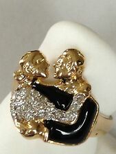 Unique Diamond black Onyx Ring 14k yellow Gold Men and lady kissing