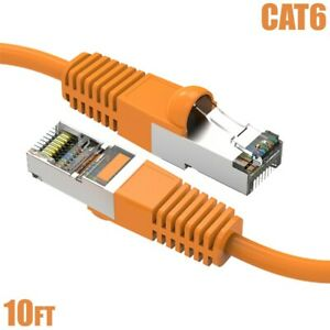 10FT Cat6 RJ45 Network LAN Ethernet SSTP Shielded Patch Cable Cord 26AWG Orange