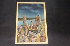 Vintage Postcard The Financial Center of the World at Night New York City Linen
