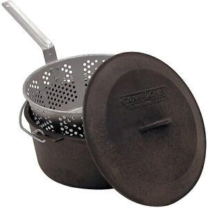 Deep Fryer Cast Iron Pot Basket Lid Cook Steam Boil Oven Outdoor Camping Black