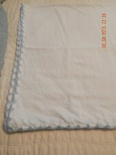 Handmade Baby Blankets and Burp Cloths - White with Little Blue Dots