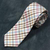 IKE BEHAR Plaid Springtime Blue Gray Rose Men's Wool Skinny Neck Tie