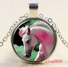 Vintage Cabochon Tibetan silver Glass Chain Pendant Necklace cheval  #Y10