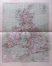 1895 Grossbritannien UK United Kingdom alte Landkarte Karte Antique Map