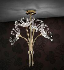 Plafoniera contemporanea design moderno oro e cristallo BELL daisy 3010/PL4L