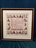 Vintage Music is Art Collectable Tapestry Wall hanging in Square Wood Frame