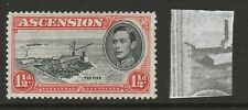 Ascension 1938-53 George VI 1½d with 'Davit' flaw R 5/1 SG 40ba Mint.