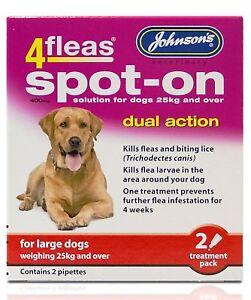 JOHNSONS 4FLEAS LARGE DOG SPOT-ON DUAL ACTION TREATMENT KILL FLEAS & LARVAE