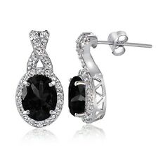 Sterling Silver 3ct Genuine Black Sapphire & White Topaz X & Oval Drop Earrings