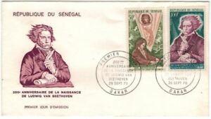 """ENVELOPPE + 2 TIMBRES """"BEETHOVEN"""" 1er JOUR 1970 - SENEGAL -"""