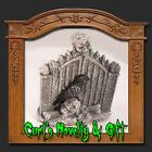 GRAVEYARD GATE WITH SKELETON & CROW Halloween Decor New