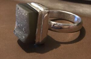 Dark Druzy Ring Rich Brown