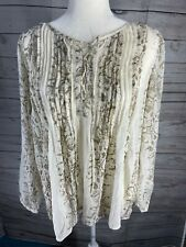 Lucky Brand Pintucked Lace-Up Peasant Top Natural Multi
