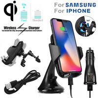 Qi Wireless Fast Charge Phone Holder Car Charger For Samsung S8 S7 S6 Edge Pad