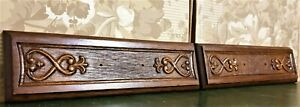 2 Decorative scroll leaves carving pediment Antique french architectural salvage