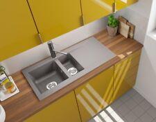 Spüle Küchenspüle Einbauspüle Mineralite Spülbecken 100 x 50 beton grau respekta
