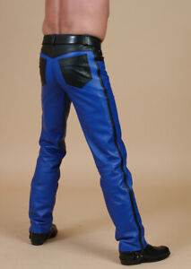 Men's Real Leather Bikers 5 Pockets Royal Blue Jeans Pants All Blue Or W. Black