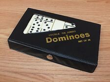 Black & White Complete Set of 28 Double Six Jumbo Dominoes With Case *Read*