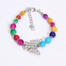 DIY fashion butterfly colorful Tibetan silver beaded bracelet gift of love S21
