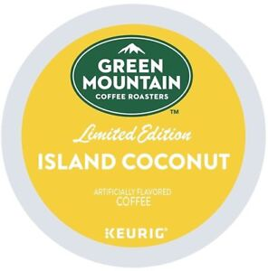 Green Mountain Island Coconut Coffee 24 to 144 Keurig K cups Pick Any Size