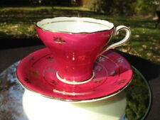 CUP SAUCER AYNSLEY CORSET WINE PLUM WITH GOLD RINGS & FLORALS bit paint loss