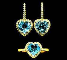 Set Ring und Ohrringe Herz, blauer Topas auf 925 Sterlingsilber Gr. 50/51 RW 16